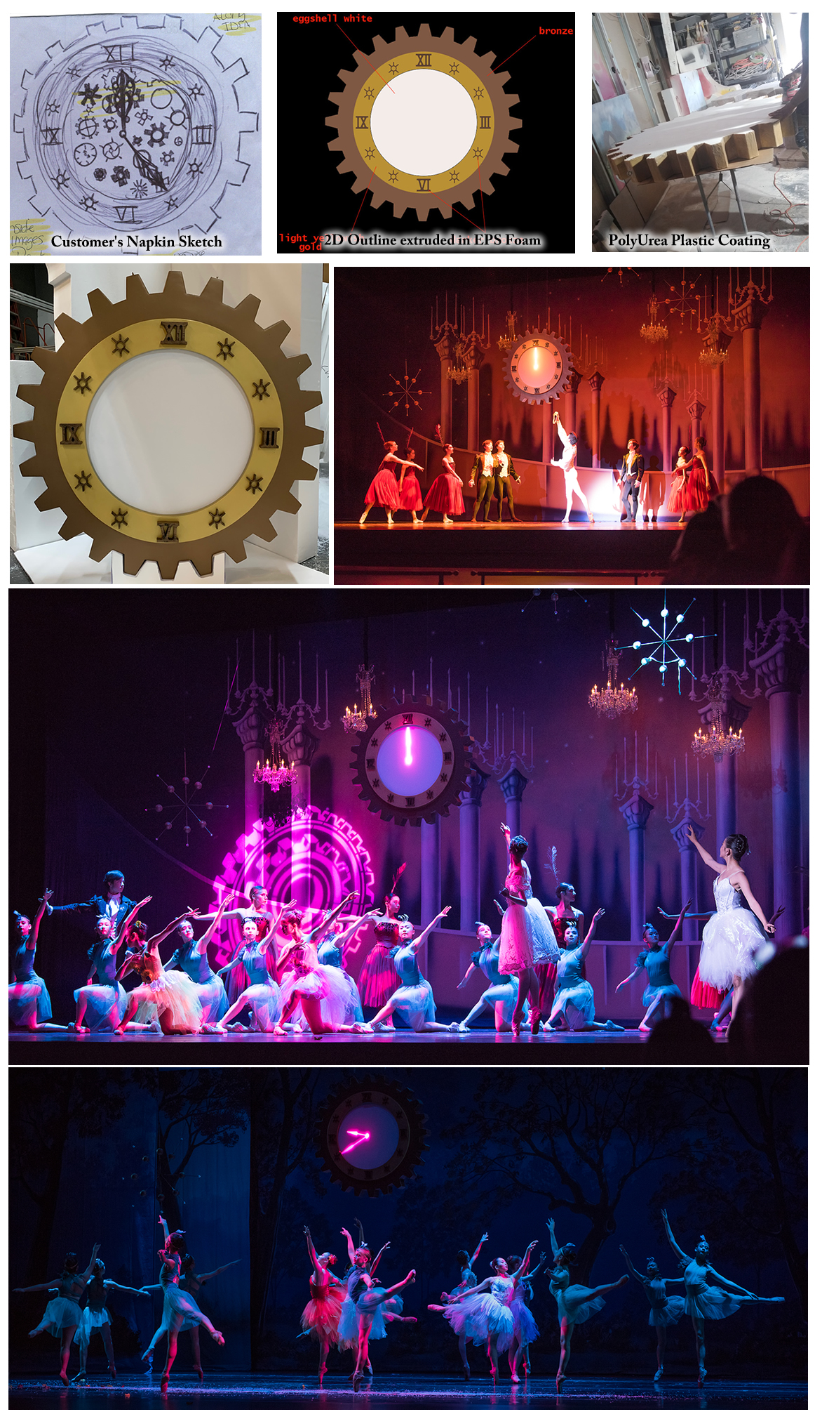 Large Foam Clock Prop Display for New Ballet Production in San Jose CA
