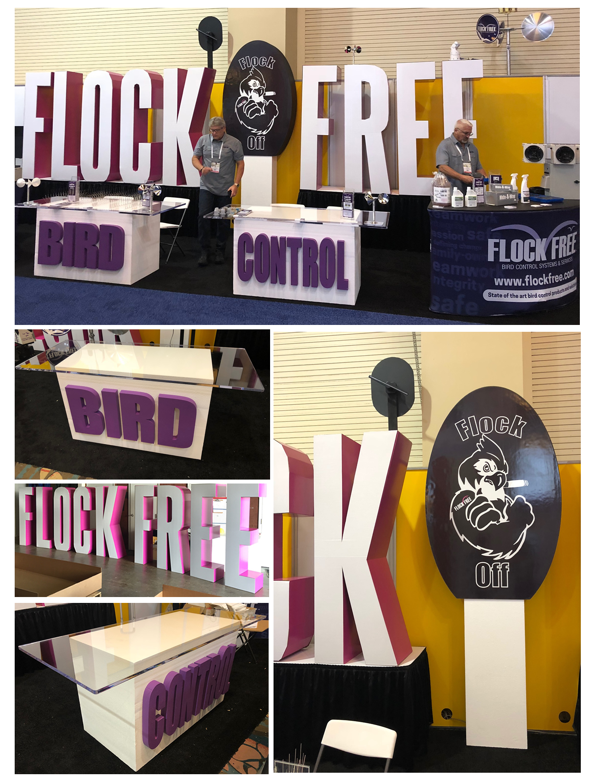 Custom Foam Table Cardboard Letters and Print on Foam Logo for Flock Free Tradeshow