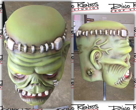 Custom Foam Big Head Halloween Frankenstein Wearable Props