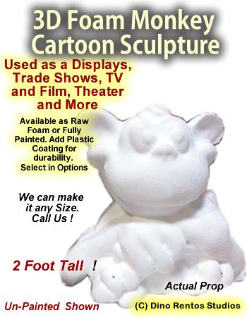 3D Foam Cartoon Monkey Prop