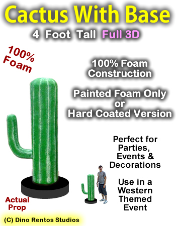 Cactus With Base 4 Foot Tall Foam Prop
