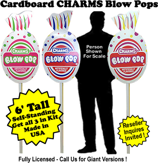 Charms Blow Pops Cardboard Cutout Standup Prop - Self Standing - Set of 3