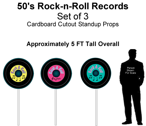 50's Rock-n-Roll Records Cutout Standup Prop - Self Standing - Set of 3