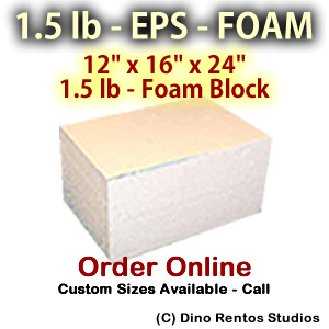 EPS Foam Block - 1.5 lb Density -12x16x24