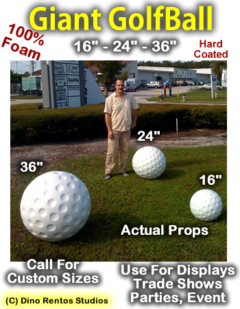 16 Inch Golfball Foam Prop - Hard Coated