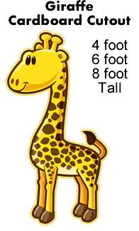 Giraffe Cartoon Cardboard Cutout Standup Prop