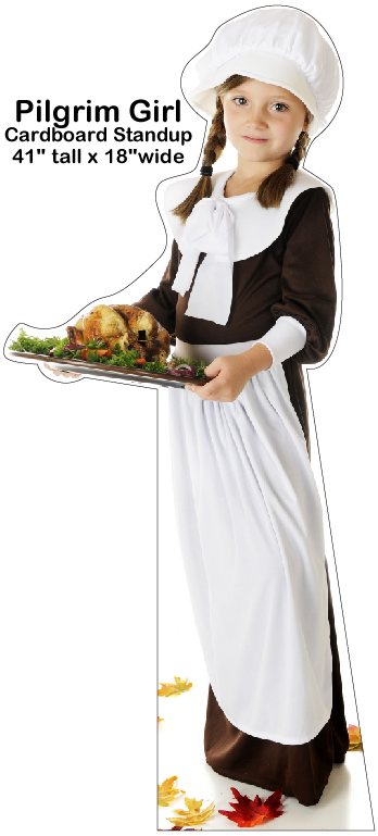 Pilgrim Girl Cardboard Cutout Standup Prop