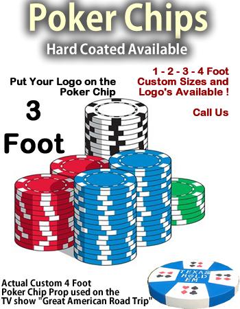 """Giant Foam Casino Poker Chip Props - 36"""" Wide"""