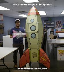 3D Cardboard Retro Rocketship