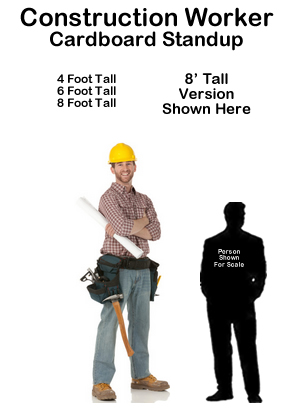 Construction Worker Cardboard Cutout Standup Prop