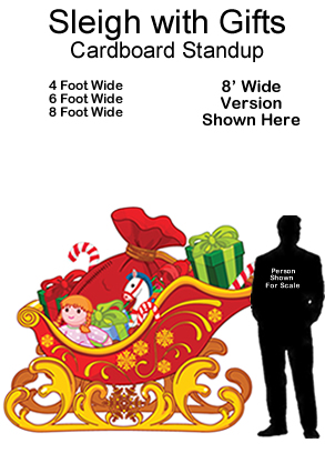 Santa Sleigh with Gifts Cardboard Cutout Standup Prop