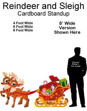Reindeer and Sleigh Cardboard Cutout Standup Prop