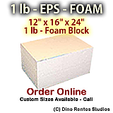 EPS Foam  Block - 1 lb Density -12x16x24