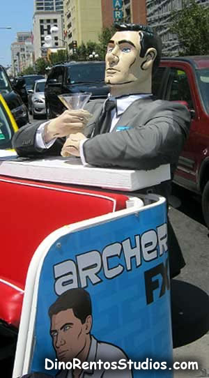 Archer Pedicab foam sculpture and props for marketing and advertising - Comiccon
