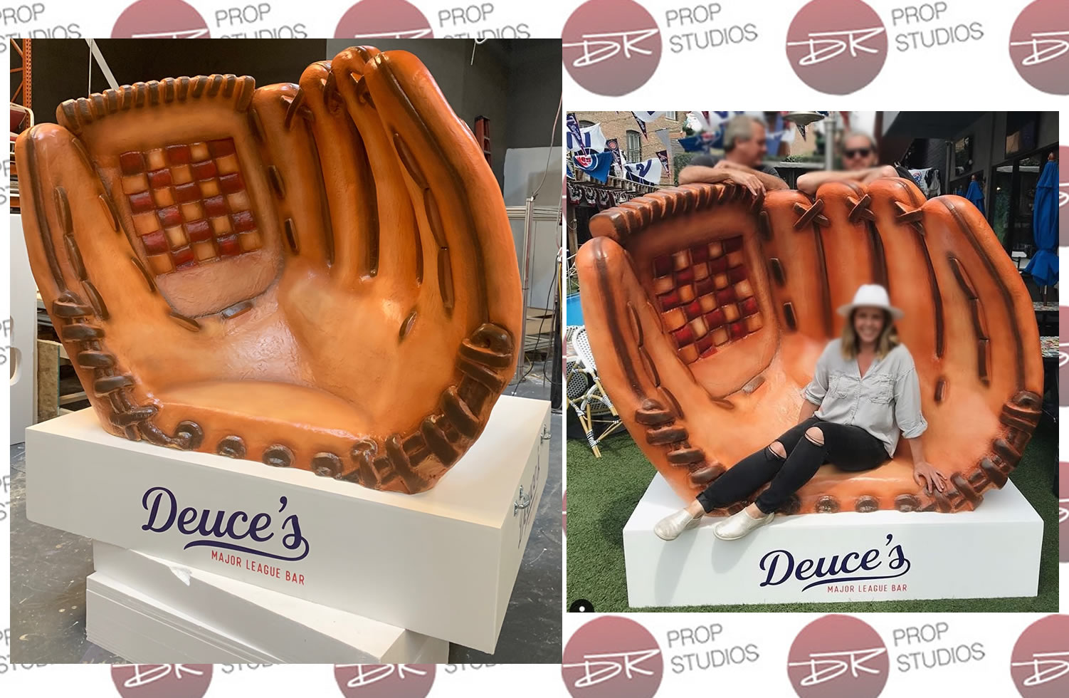 Large Foam Baseball Glove Seat Chair for Deuce's Major League Bar in Chicagpo