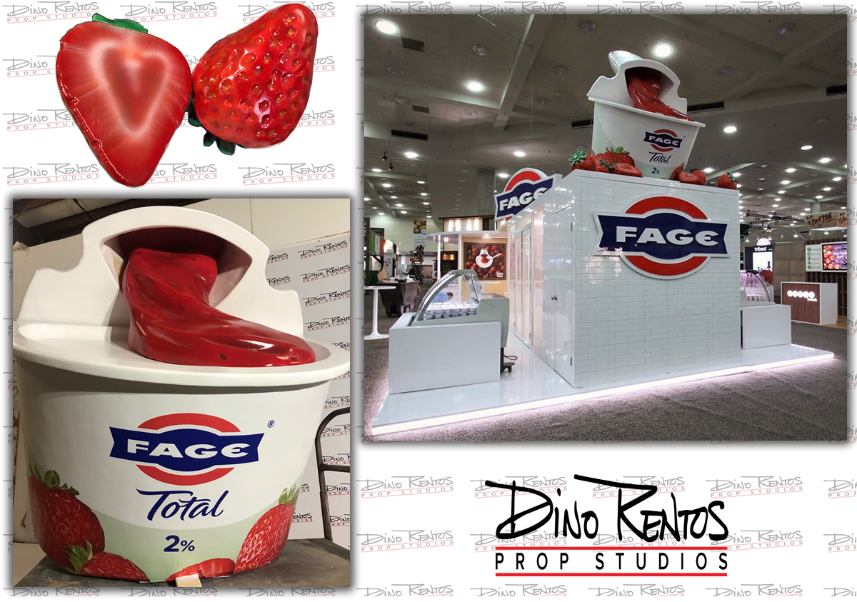 Large Custom Food Replica Strawberry Yogurt Cup for retail display tradeshows and corporate events