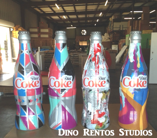giant over sized coke bottles scenic sculpture prop