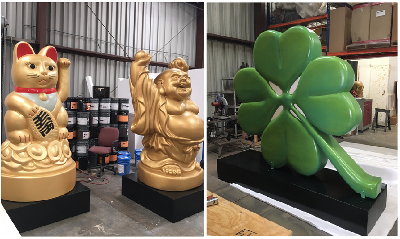 Lucky Cat Buddha Clover custom made scenic sculpture props and displays