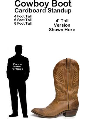 Cowboy Boot Cardboard Cutout Standup Prop