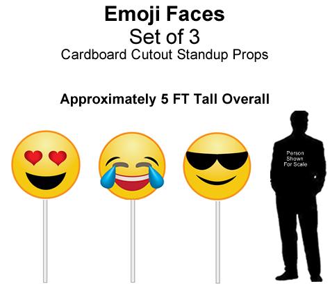 Emoji Faces Cardboard Cutout Standup Prop - Self Standing - Set of 3