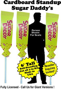 Sugar Daddy Cardboard Cutout Standup Prop - Self Standing - Set of 3