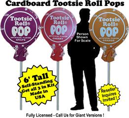 Tootsie Roll Pops Cardboard Cutout Standup Prop - Self Standing - Set of 3