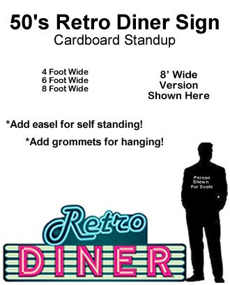 50's Retro Diner Sign Cardboard Cutout Standup Prop
