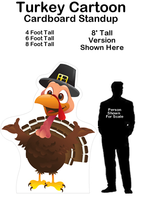 Turkey Cartoon Cardboard Cutout Standup Prop
