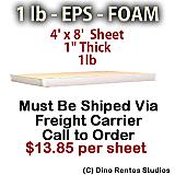 EPS Foam Sheet - 1 lb Density - 48x96x1