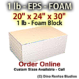 EPS Foam  Block - 1 lb Density - 20x24x30