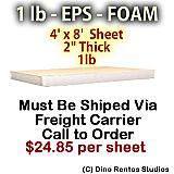 EPS Foam Sheet - 1 lb Density - 48x96x2