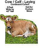 Calf Laying Cardboard Cutout Standup Prop